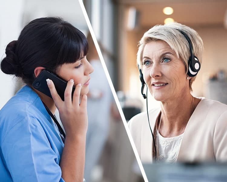 Support line volunteer talking to a healthcare worker