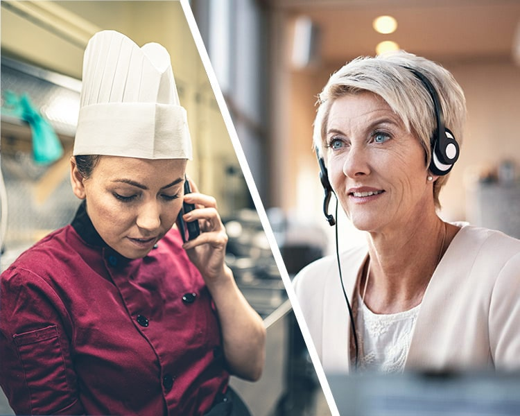 Split image chef talking to woman on a headset
